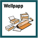 Skylt: Wellpappkartonger med texten Wellpapp